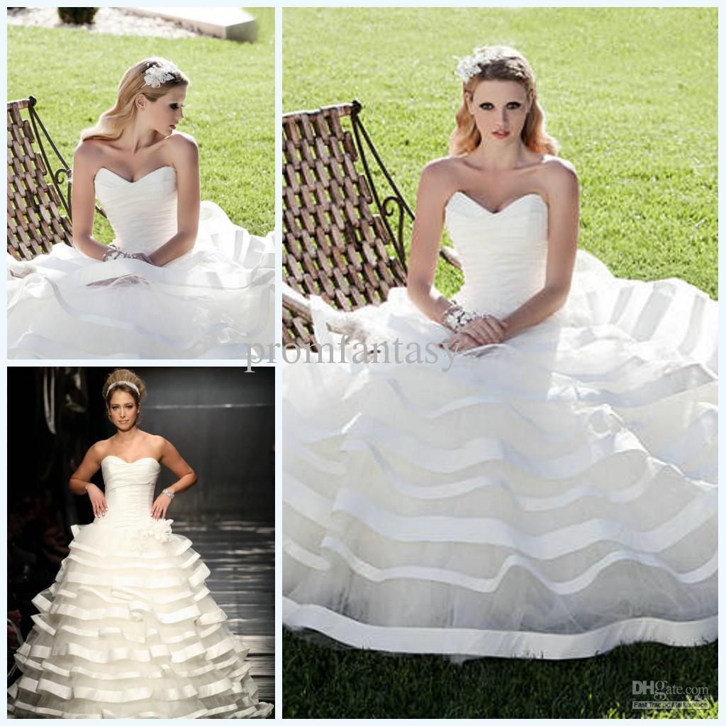 2013 Sweetheart Neckline Ribbon Trim Ruffle Tulle Ball Gown Custom ...