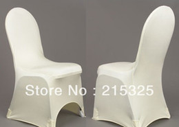 Wholesale 200pcs High quality white spandex banquet chair cover Lycra chair cover with an arch on feet