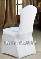 Wholesale 100pcs white polyester spandex banquet chair cover lycra chair cover flat front