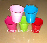 Wholesale 40pcs bucket tin box tin box Mini Pail Mint Tin Wedding Favors colour mix batch