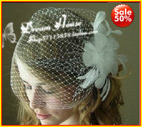 Wholesale Bridal Hats Full Side Blusher Birdcage Veil Detachable Ivory Feather Flower Fresh Pearls Cente New