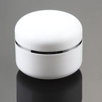Wholesale 50g whitecream bottle with silver line cosmetic container cream jar Cosmetic Jar Cosmetic Packaging