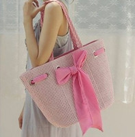 Wholesale 2016 Cheap Straw Bags Woven Bag Shoulder Bags Beach Idyllic Bowknot Colors