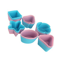 Wholesale 1200 Rose Star Triangle Silicone Muffin Cake Cupcake Cup Mould Case Bakeware Maker cm