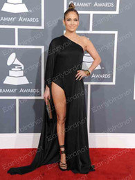 Wholesale 55th Grammy Awards Sexy Long Sleeve Black Satin Slit Celebrity Evening Dresses