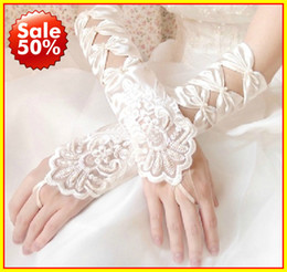 Wholesale 2013 embroidered satin Fingerless hollow gloves wedding dress long gloves Accessories