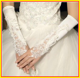 Wholesale 2013 Beautiful Applique Beading wedding Party dresses Dress long gloves Accessories