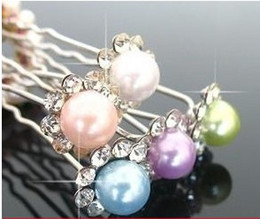 Wholesale mixed Colors Crystal with pearl Bridal Hair pins clips