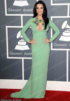 Wholesale 55th Grammy Awards Sexy New V Neck Green Long Sleeve Sheath Katy Perry Celebrity Prom Dresses