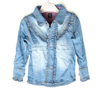 Wholesale Girls Blue Jean Shirts Fashion Lace Cardigan Long Sleeve T Shirts Denim Jacket Children Clothing
