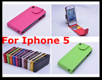 Leather For Apple iPhone For Christmas New Arrival Flip Leaher Case Plastic Back Cover Skin for Iphone 5 5G Iphone5 Credit Card Slot 50pcs