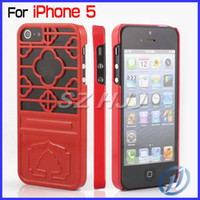 Wholesale For iPhone5 G S Plastic Thin Case Snap On Chinese Flower Lattice Window Pattern Hard Case