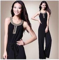 Wholesale Sale Chiffon Black Jumpsuit - wholesale Hot Sale elegant Slim Noble black jumpsuits with beaded Evening   Formal Dresses