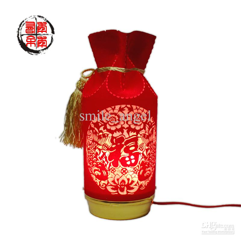 china style wedding lights table lamps red money bag design art