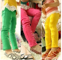 Wholesale girl s Distressed rips candy colorful leggings tights jeans pants hot pink green yellow
