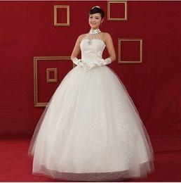Newest Design ! New Fashion Cheap High-Necked Lace-Up A-Line Bride Princess Wedding Dress