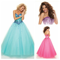 Blue Purple Hot Pink Tulle Corset Bodice Ball Gown Prom Dres...