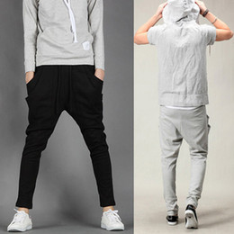 Wholesale Fashion Men s Harem Pants draw cord Waist Sport Trousers With Pockets Slim Pencil Pant Colors