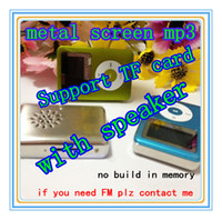 Wholesale mp3 player build in speaker TF card slot metal screen mp3 music player earphone usb cable user manual crystal box DHL
