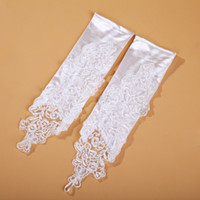 Wholesale Bridal Gloves yarn fingerless satin flowers hand sewn beads party gloves white color