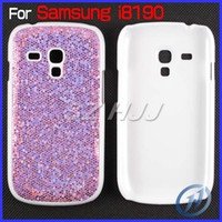 Plastic For Samsung  Bling Sparkle Hard Cover Case for Samsung Galaxy S3 Mini i8190 Plastic Skin Snap ON Cover