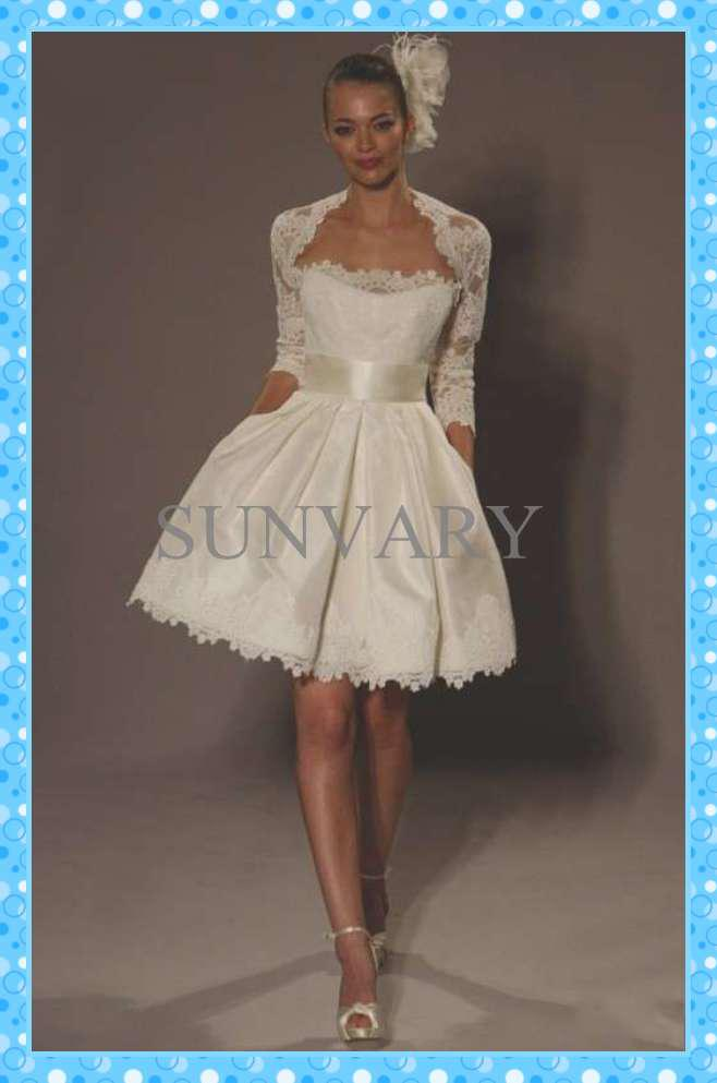 2013 dhgate hot sale a line jacket knee length lace long for Winter wedding dresses for sale