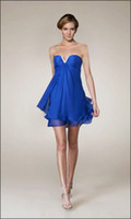 Beads Sheath/Column Zipper 2013 New Sexy Short Sweetheart Royal Blue Chiffon Column Cheap Bridal Party Evening Cocktail Dresses
