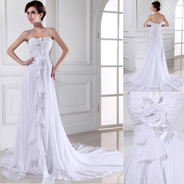 Wholesale 2013 White Chiffon Bateau Flowers Appliques Sash Beach Wedding Dresses Bridal Gowns