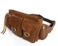 Wholesale Classic Style Unisex Fanny Waist Pack Purse Genuine Vintage Tan Leather