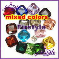 Wholesale jewelry accessories MIXED COLORS Square Octagon glass beads crystal fancy stone pointback multi col