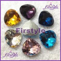 Crystal aquamarine stone - MANY COLORS U choose x20mm heart shape crystal silver base Facny Stone aquamarine pink topaz
