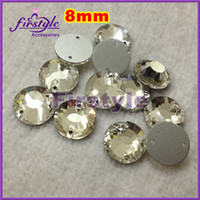 Wholesale round sew on rhinestones FLAT TOP clear color mm bling crystal flatback sewing b