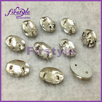 Wholesale 3092 oval Sew on crystal beads clear color flatback for wedding dress x10mm x14mm x16mm x18mm