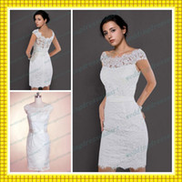 Wholesale 2013 Sheath Off Shoulder Lace Short Beach Garden Wedding Dresses with Sleeves Sexy Party Sheer Back