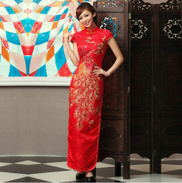 Wholesale Junoesque Chinese Dresses Cheongsam Satin Red Bridal dress Ankle Lenth Mother of the bride Dresses