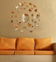 Wholesale newkids D crystal Silver mirror antique Wall Stickers Butterfly fly DIY art Wall Clocks