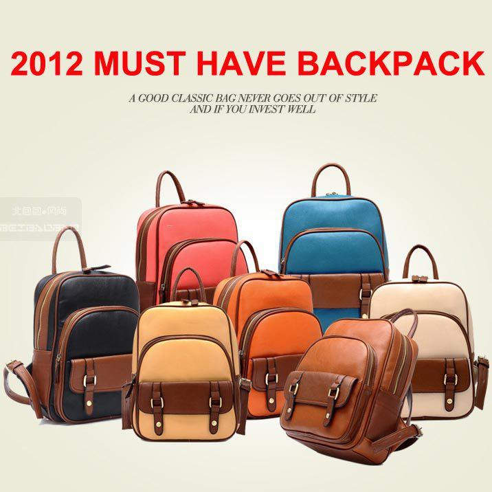Fashion Travel Backpack For Women / Vintage Contrasting School ...