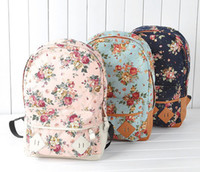 Wholesale 2015 Hot Fashion canvas backpack Flower Design fashion travelling bag schoolbag colors