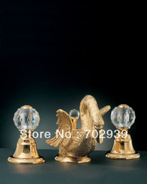 Gold bathroom basin sink swan faucet SWAN LAVaTORY TAP WITH CRYSTAL GLASS HANDLES