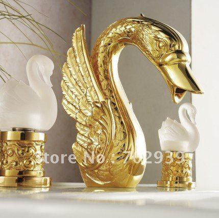 2017 Gold Finish Pvd Bathroom Basin Sink Swan Faucet Swan Lavtory Tap With Crystal Glass Handles