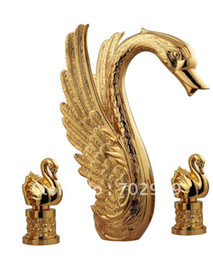 Free shipping Gold finish PVD bathroom swan BATHTUB faucet swan mixer tap