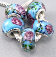 Wholesale 60p Light Blue Murano Lampwork Glass Beads Fit Charm Bracelet mm Jewelry DIY