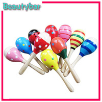 Wooden cabasa - Children educational toy colorful cartoon natural wood sand hammer maracas sand toy cabasa