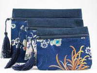 Wholesale Zipper piece Cosmetic Bag Set Silk Storage Makeup Pouches Set set mix color Free