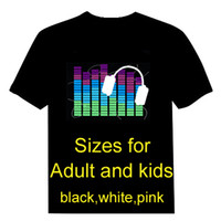 Wholesale EL T shirt Sound Activated Flashing T shirt Lighting T shirt light up and down led t shirt EF32