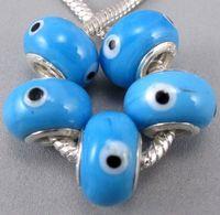 Glass   60pcs lot Lampwork Murano Glass Evil Eye Big Hole Beads Fit Charm Bracelet Jewelry DIY 0129