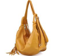 Wholesale New Fashion Women s Backpack PU Leather Hobo Lady Handbags Multi use Bag Travel Bag Tassel Free Ship