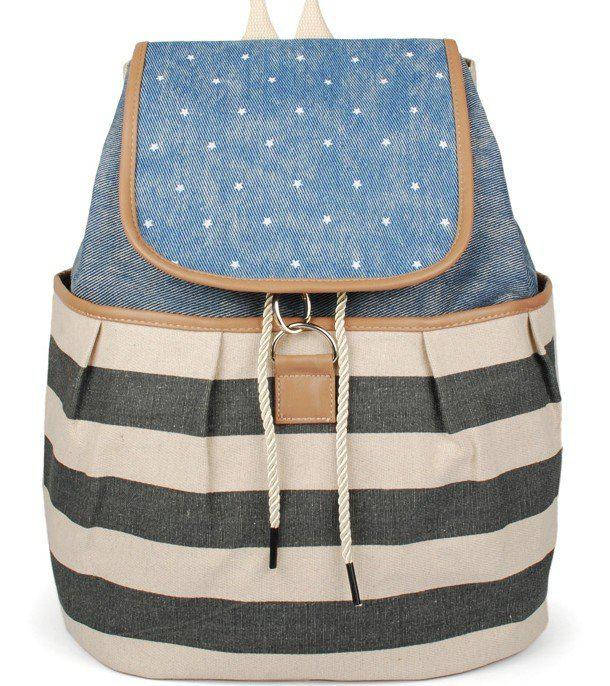 Stripe Middle School Girls Backpack Bag