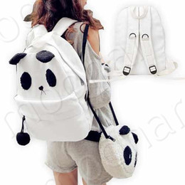Wholesale new style autumn double shoulder backpack fashion lovely canvas student panda book bag and little pa