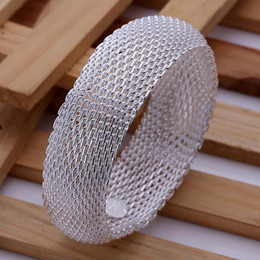 Wholesale best quality fashion jewelry cheap silver charm Beautiful Mesh big bangle bracelet jewelry Christmas gift Panic buy